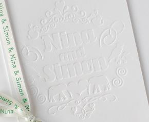 Embossed wedding invitation design