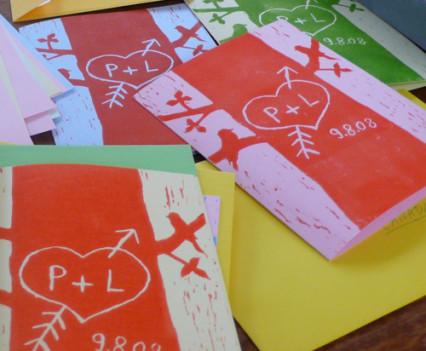 Linocut wedding invitation design by Park Studio
