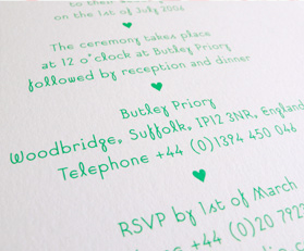 Embossed wedding invitation design