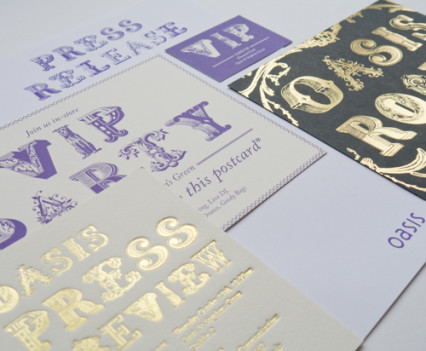 Foil blocked invitation design by Park Studio
