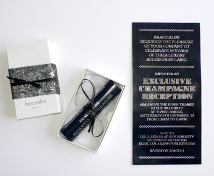 Leather scroll invitation design by Park Studio